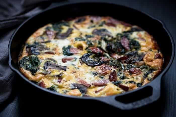 Smoked Sausage Frittata with Spinach & Mushrooms