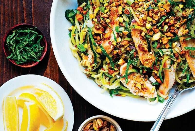 zucchini pasta with chicken pistachios recipe