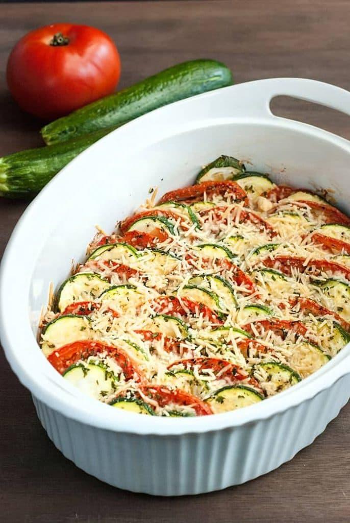 Parmesan zucchini tomato gratin keto side dishes